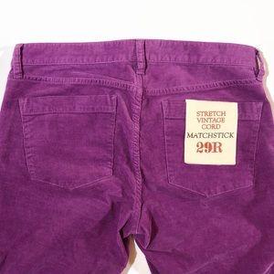 J. Crew Pants - NWT JCrew Matchstick corduroy pants stretch purple
